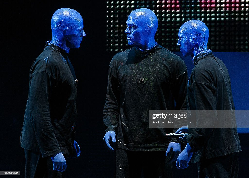 Members of the Blue Man Group kick off their North American tour at Queen Elizabeth Theatre on March 25, 2014 in Vancouver, Canada.