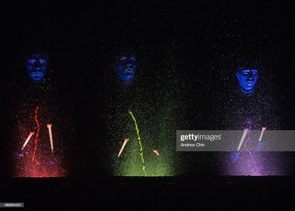 Members of the Blue Man Group kicks off their North American tour at Queen Elizabeth Theatre on March 25, 2014 in Vancouver, Canada.