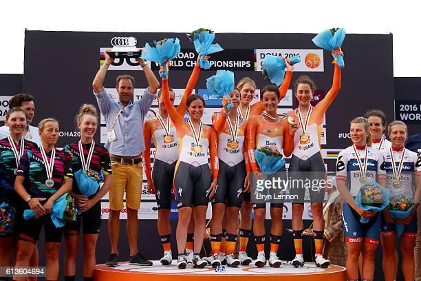 Members of the Boels Dolmans team Chantal Blaak of Netherlands KarolAnn Canuel of Canada Lizzie Deignan of Great Britain Christine Majerus of...