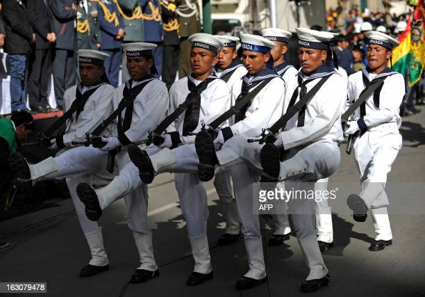 Members of the Bolivian Navy take part in a parade for the decoration by Bolivian President Evo Morales of soldiers Augusto Cardenas Alex Choque and...