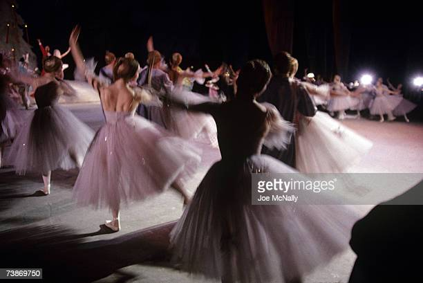 Members of the Bolshoi Ballet Company on the stage of the Bolshoi Theater on January 1 1997 in Moscow Russia