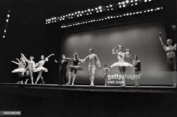 Members of the Bolshoi Ballet take a bow for the audience following a performance at the Cheyenne Civic Center on April 22, 1998 in Cheyenne,...