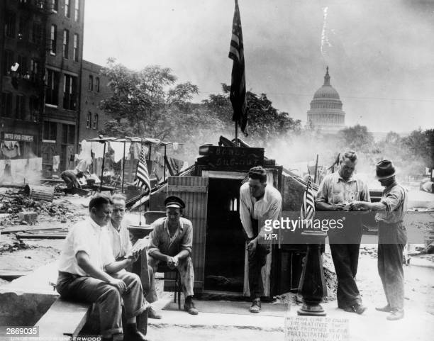 Members of the Bonus Army a group of World War I veterans demanding payment of their war pensions in Washington DC
