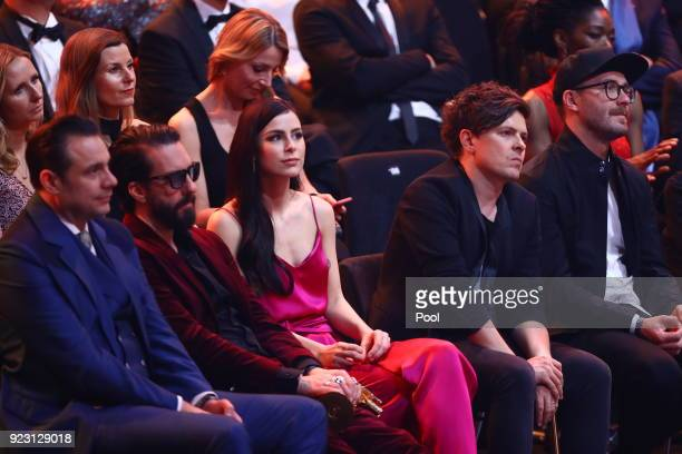 Members of The BossHoss Lena MeyerLandrut Michael Patrick Kelly and Mark Forster during the show of 'Goldene Kamera 2018' at Messehallen on February...