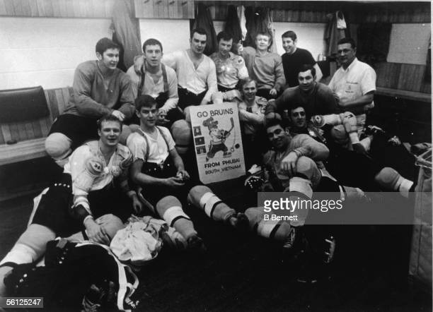 Members of the Boston Bruins professional ice hockey team including from bottom left Canadians Wayne Cashman Bobby Orr Ed Westfall Phil Esposito and...