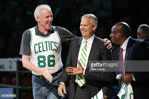 Members of the Boston Celtics 1986 championship team Bill Walton and Danny Ainge are honored at halftime of the game between the Boston Celtics and...