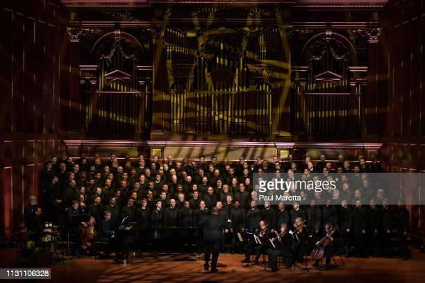 Members of the Boston Gay Men's Chorus perform in a program titled 'Raise You Up' at Jordan Hall at New England Conservatory on March 16 2019 in...
