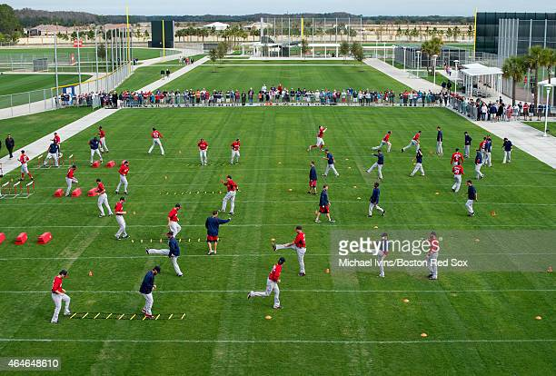 Members of the Boston Red Sox participate in conditioning drills at Fenway South in Fort Myers Florida on February 27 2015