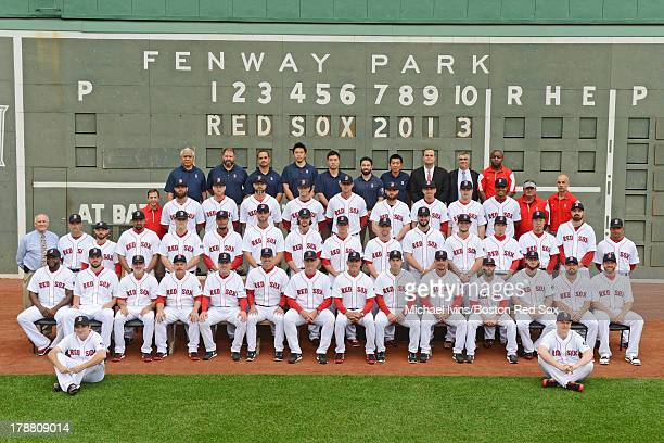 Members of the Boston Red Sox pose for a team picture before a game against the Baltimore Orioles on August 29 2013 at Fenway Park in Boston...