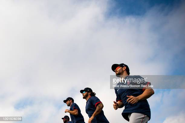 Members of the Boston Red Sox run sprints during a team workout on February 17 2020 at jetBlue Park at Fenway South in Fort Myers Florida