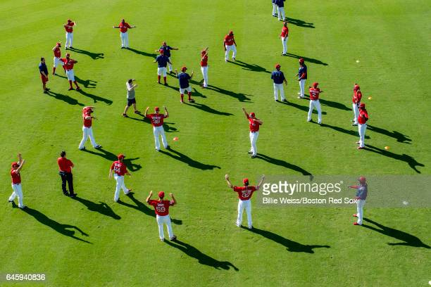 Members of the Boston Red Sox stretch before a Spring Training game against the St Louis Cardinals on February 27 2017 at Fenway South in Fort Myers...