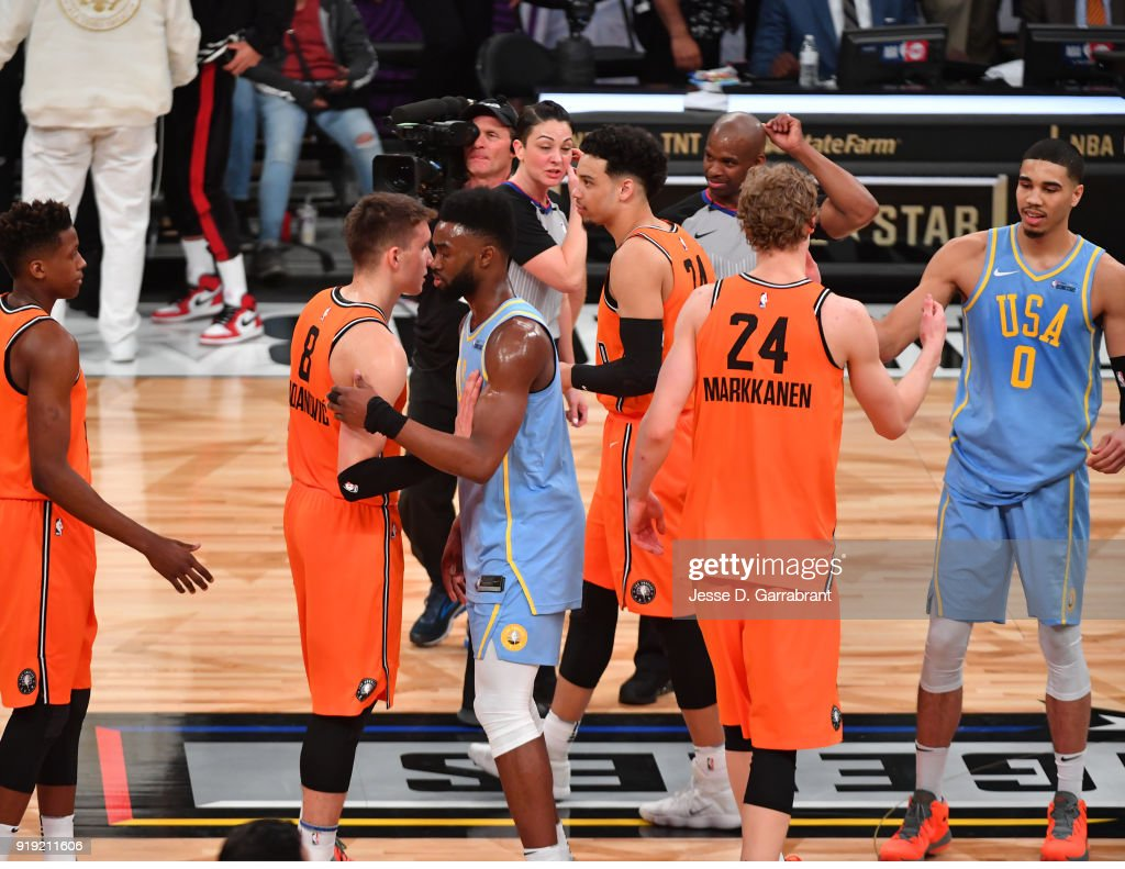 Members of the both teams congratulate each other after a heavy offensive game at the Mountain Dew Kickstart Rising Stars Game during All-Star Friday Night as part of 2018 NBA All-Star Weekend at the STAPLES Center on February 16, 2018 in Los Angeles, California.