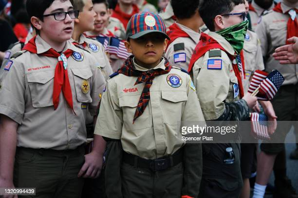 Members of the Boy Scouts participate in the annual Memorial Day Parade on May 31, 2021 in the Staten Island borough of New York City. Dozens of...