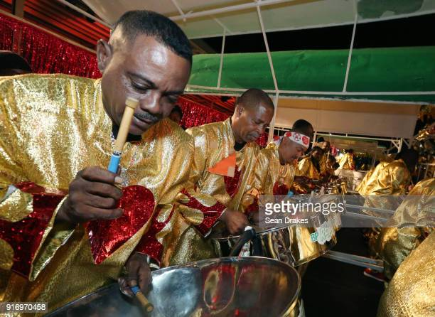 Members of the BP Renegades Steel Orchestra perform during the Panorama Finals competition in the Queen's Park Savannah on Feb 10 2018 in Port of...