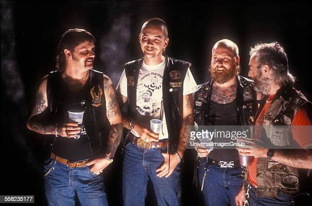 Members of the Bracknell Chopper Club at a tattoo convention Dunstable UK 1987