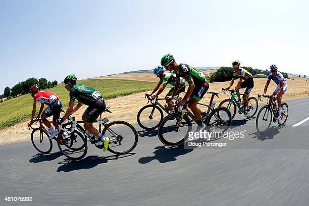 Members of the breakaway group Thomas de Gendt of Belgium and LottoSoudal Cyril Gautier of France and Team Europcar Nathan Haas of Australia and Team...