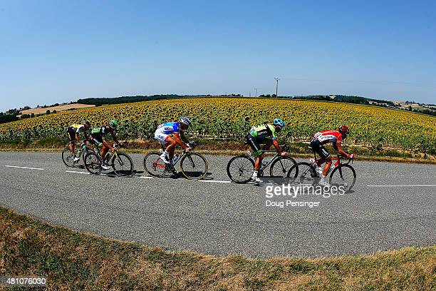 Members of the breakaway group Thomas de Gendt of Belgium and LottoSoudal Nathan Haas of Australia and Team CannondaleGarmin Alexandre Geniez of...