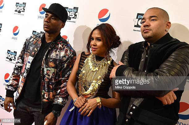 Members of the Breakfast Club Charlamagne Tha God Angela Yee and DJ Envy attend Power 1051's Powerhouse 2015 at the Barclays Center on October 22...