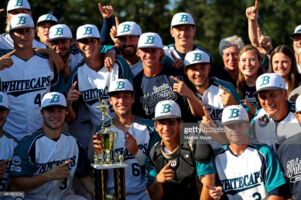 Members of the Brewster Whitecaps celebrate after defeating the Bourne Braves 2-0 to win the Cape Cod League Championship at Stony Brook Field on August 13, 2017 in Brewster, Massachusetts. The Cape Cod League was founded in 1885 and is the premier summer baseball league for college athletes. Over 1100 of these student athletes have gone on to compete in MLB including Chris Sale, Carlton Fisk, Joe Girardi, Nomar Garciaparra and Jason Varitek. The chance to see future big league stars up close makes Cape Cod League games a popular activity for the families in each of the 10 towns on the Cape to host a team. Each team is a non-profit organization, relying on labor from volunteers and donations from spectators to run each year.