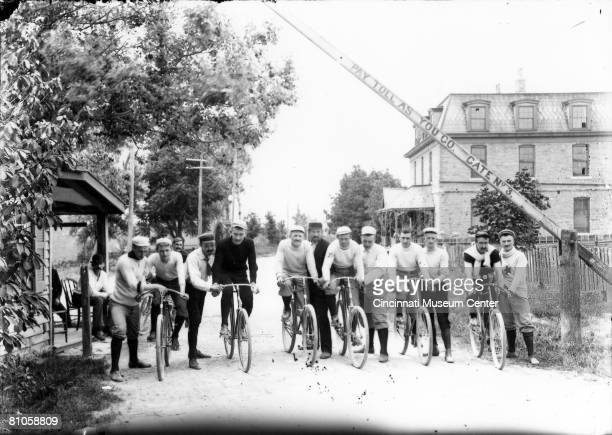 Members of the Brighton Bicycle Club members are line up for the start of a race between the villages of Glendale and Hamilton Cincinnati Ohio 1892