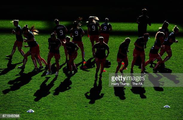 Members of the Bristol City Women's side warm up during the WSL 1 match between Bristol City Women and Reading FC Women at Ashton Gate on April 22,...