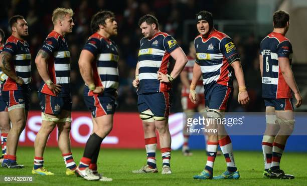 Members of the Bristol side show dejection during the Aviva Premiership match between Bristol Rugby and Gloucester Rugby at Ashton Gate on March 24...