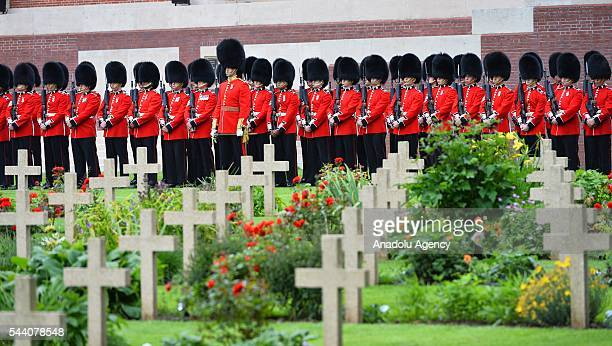 Members of the British Army stand guard during the ceremony to mark the centenary of the Battle of the Somme at the Thiepval monument in Thiepval...