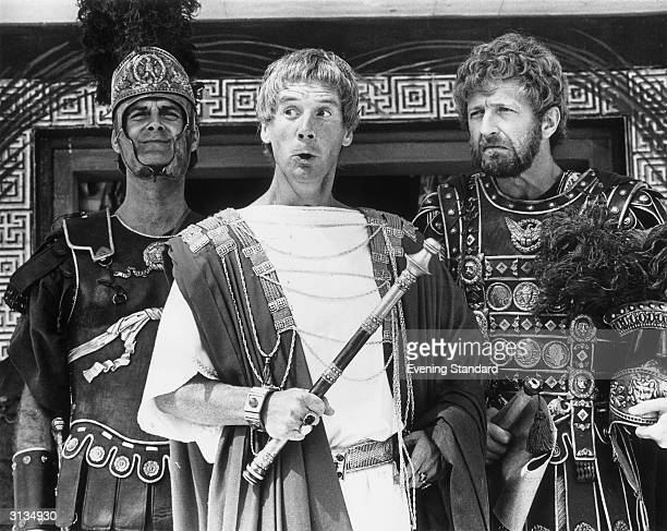 Members of the British comedy team Monty Python during the filming of their controversial film 'The Life of Brian' John Cleese as a centurion Michael...