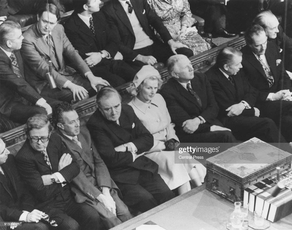 Members of the British Conservative Party Shadow Cabinet on the opposition front bench in the House of Commons, Westminster, London, during the State Opening Of Parliament, 24th November 1976. Front row, left to right: Geoffrey Howe, Keith Joseph (1918 - 1994), William Whitelaw (1918 - 1999), Leader of the Opposition Margaret Thatcher, James Prior, and Francis Pym (1922 - 2008).