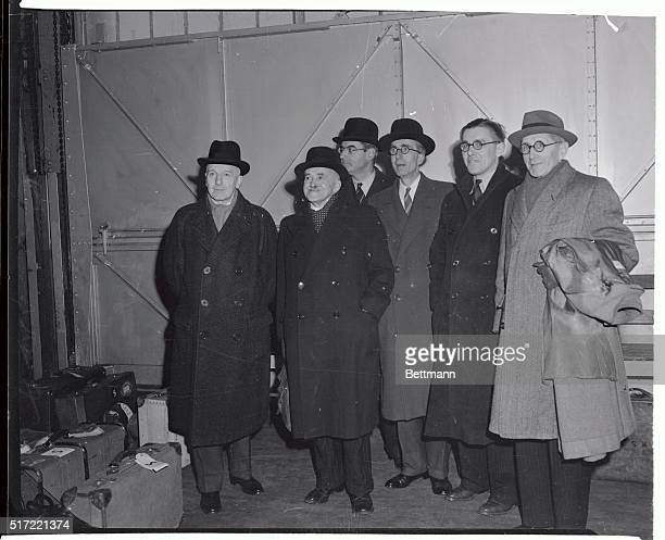 Members of the British delegation which will confer with a U.S. Delegation here on the Palestine problem are shown as they arrived on the S.S. Queen...