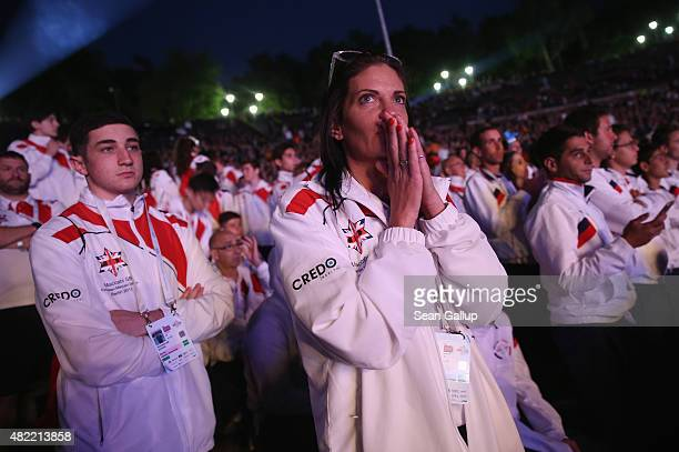 Members of the British national team attend the official opening ceremony of the European Maccabi Games at the Waldbuehne on July 28 2015 in Berlin...