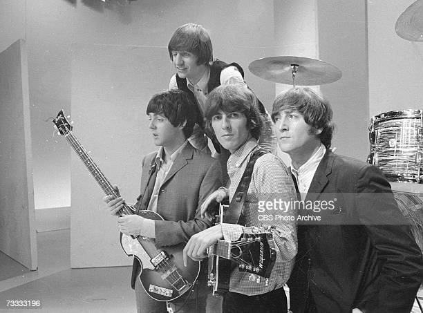 Members of the British popular rock and roll band The Beatles, Paul McCartney, Ringo Starr, George Harrison , and John Lennon , pose for a group...