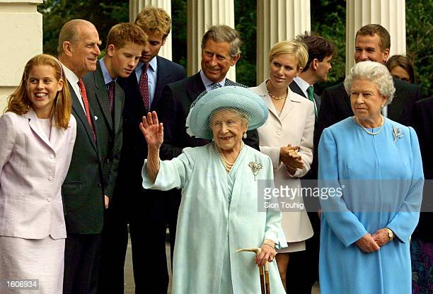 Members of the British Royal Family appear with The Queen Mother during celebrations to mark her 101st birthday August 4 2001 in London