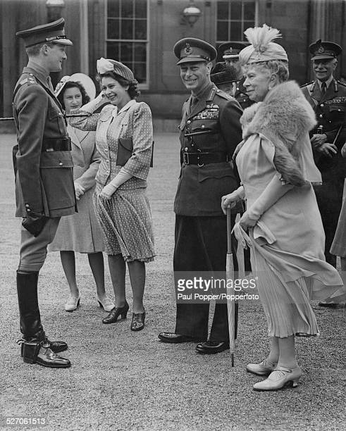 Members of the British royal family at a presentation of 36 Netherlandsbred horses to Queen Wilhelmina of the Netherlands at Buckingham Palace London...