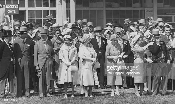Members of the British Royal Family attend the Epsom Derby; Sir Humphrey de Trafford, 4th Baronet, Prince Philip, Princess Alexandra of Kent, Prince...