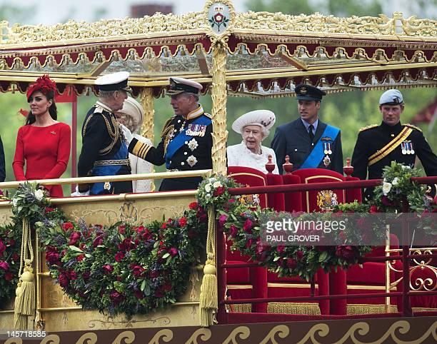 Members of the British royal family Catherine, Duchess of Cambridge, Prince Philip, Duke of Edinburgh, Prince Charles, Prince of Wales, Britain's...