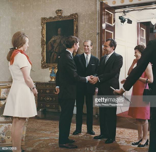 Members of the British Royal Family from left Princess Anne Prince Charles Prince Philip Duke of Edinburgh and Queen Elizabeth II pictured meeting...