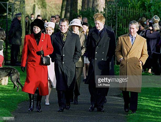 Members of the British royal family from left Princess Anne Sophie Rys Jones the Countess of Wessex Peter Phillips Zara Phillips Prince Harry and...