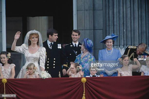 Members of the British royal family on the balcony at Buckingham Palace after the wedding of Prince Andrew and Sarah Ferguson London 23rd July 1986...