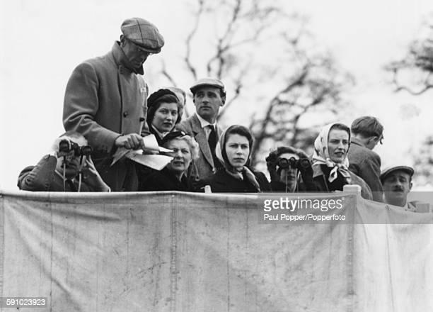 Members of the British Royal Family watch the Olympic Horse Trials; Duke of Edinburgh , Henry Somerset, 10th Duke of Beaufort, Mary Somerset, Duchess...