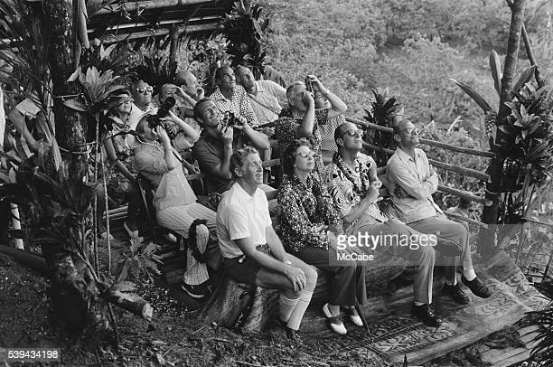 Members of the British royal family watching a display of landdiving from a bamboo tower during a visit by to Pentecost Island Vanuatu off the...