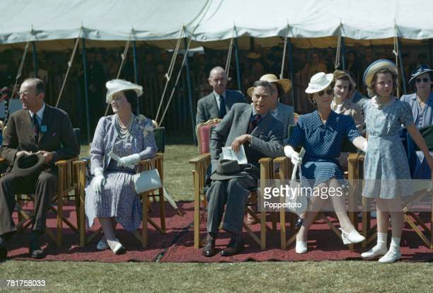 Members of the British Royal Family, with from left, Henry Somerset, 10th Duke of Beaufort , Queen Elizabeth , King George VI , Princess Marina of...