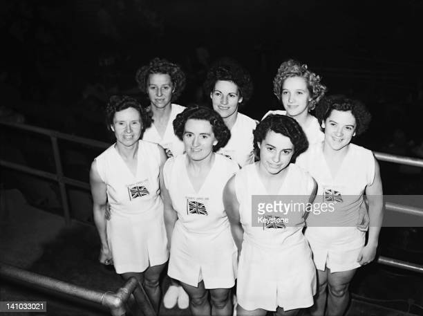 Members of the British team at Empress Hall Earl's Court during the gymnastics events at the London Olympic Games 12th August 1948 They are back row...
