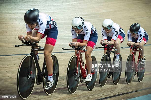 TOPSHOT Members of the British team compete in the women's team pursuit event during the European Track Cycling Championships in...