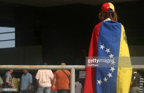 Members of the broad front Venezuela Free students workers unions and civil society protested on 10 January 2019 in Maracaibo Venezuela against the...