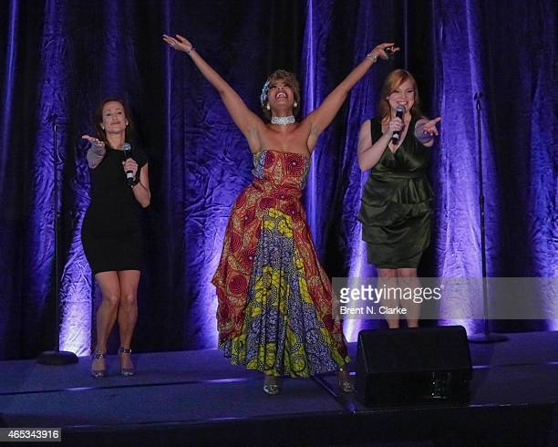 Members of the Broadway Musical Disenchanted Erin LeighPeck SoaraJoye Ross and Jen Bechler perform on stage during day 1 of the International...