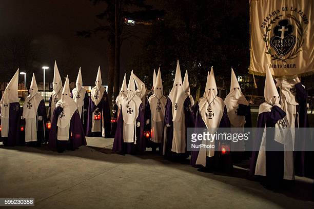 Members of the Brotherhood of the Passion during nighttime procession of prayer held on Easter Monday in the city of Santander SANTANDER Spain on...