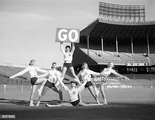 Members of the Brownettes cheerleading squad for the Cleveland Browns pose for a portrait on September 14 1960 at Municipal Stadium in Cleveland Ohio...