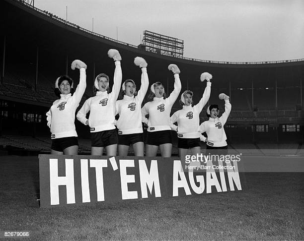 Members of the Brownettes cheerleading squad for the Cleveland Browns pose for a portrait in September 1961 at Municipal Stadium in Cleveland Ohio...