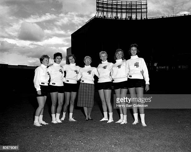 Members of the Brownettes cheerleading squad for the Cleveland Browns pose for a portrait on September 10 1959 at Municipal Stadium in Cleveland Ohio...